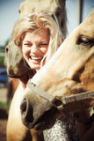 Beautiful woman with horse. Outdoor portrait of young beautiful woman with horse Royalty Free Stock Photography