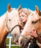 Beautiful woman with horse. Outdoor portrait of young beautiful woman with horse Stock Photography