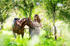 Beautiful woman with horse. The beautiful woman with horse Royalty Free Stock Photos
