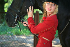 Beautiful woman with a horse.  Royalty Free Stock Images