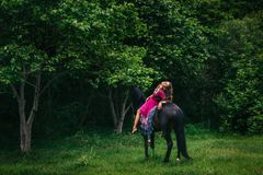 Beautiful woman on a horse. Dressed in long violet dress Royalty Free Stock Photography