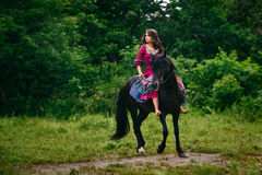 Beautiful woman on a horse Royalty Free Stock Images