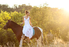 Beautiful woman on a horse. Horseback rider Royalty Free Stock Images