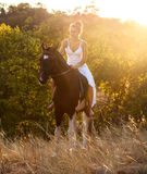 Beautiful woman on a horse Stock Photos