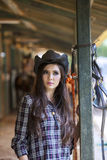 Beautiful woman at horse ranch Stock Image