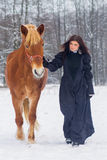 Beautiful woman and horse in winter Stock Image