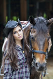 Beautiful woman and horse royalty free stock photography