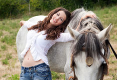 Beautiful woman with horse Royalty Free Stock Photo