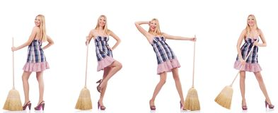 The beautiful woman in housecleaning concept. Beautiful woman in housecleaning concept royalty free stock photography