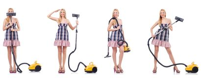 The beautiful woman in housecleaning concept. Beautiful woman in housecleaning concept royalty free stock image