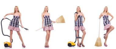 The beautiful woman in housecleaning concept. Beautiful woman in housecleaning concept royalty free stock photos