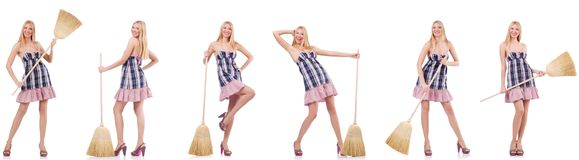 The beautiful woman in housecleaning concept. Beautiful woman in housecleaning concept stock photos