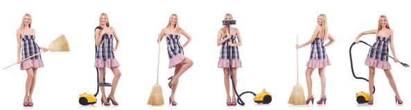 The beautiful woman in housecleaning concept. Beautiful woman in housecleaning concept royalty free stock images