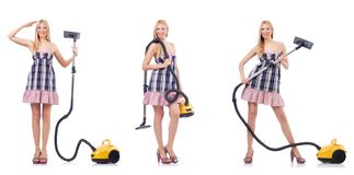 The beautiful woman in housecleaning concept. Beautiful woman in housecleaning concept stock images