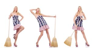 The beautiful woman in housecleaning concept. Beautiful woman in housecleaning concept stock image