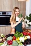 Beautiful woman housewife cook prepare kitchen culitaryl,delicio Stock Photos
