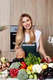 Beautiful woman housewife cook prepare kitchen culitaryl,delicio Royalty Free Stock Photography