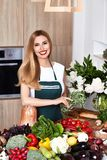 Beautiful woman housewife cook prepare kitchen culitaryl,delicio Stock Photography