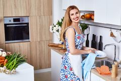Beautiful woman housewife cook prepare in kitchen meal,delicious Royalty Free Stock Photo