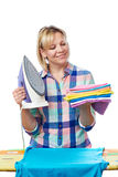 Beautiful woman housewife ironed clothes Royalty Free Stock Image