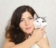 Beautiful woman hug cat close up photo. On white Stock Photos