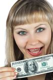 Beautiful woman with hundred dollar banknote Royalty Free Stock Image