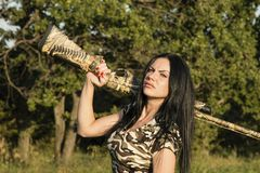 Beautiful woman hunter with Rifle Royalty Free Stock Photography