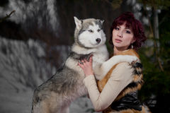 Beautiful woman with a husky dogs Stock Image