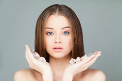 Beautiful Woman with Ice Cubes Stock Image