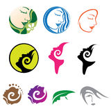 Beautiful Woman Icon Logos. Drawing set of women faces in iconic form for business use Stock Images