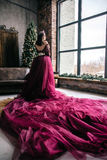 Beautiful woman in the image of the Queen in the Marsala-colored. Dress with a long train in the loft Royalty Free Stock Photos