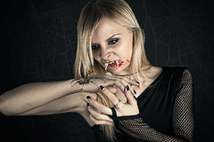 Beautiful woman in the image of a vampire Stock Photos