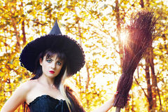 Beautiful woman in an image of a witch Stock Photo