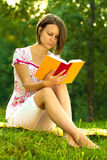 Beautiful woman immersed in a romantic book Royalty Free Stock Photos