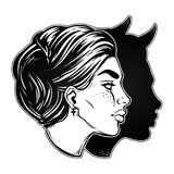 A beautiful woman with imp shadow head portrait. Devil in disguise. Minimalistic lady is ideal Halloween, tattoo, wierd, psychedelic art for print, posters, t Royalty Free Stock Image