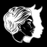 A beautiful woman with imp shadow head portrait. Devil in disguise. Minimalistic lady is ideal Halloween, tattoo, wierd, psychedelic art for print, posters, t Stock Photos