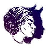 A beautiful woman with imp shadow head portrait. Devil in disguise. Minimalistic lady is ideal Halloween, tattoo, wierd, psychedelic art for print, posters, t Royalty Free Stock Images