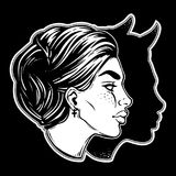 A beautiful woman with imp shadow head portrait. Devil in disguise. Minimalistic lady is ideal Halloween, tattoo, wierd, psychedelic art for print, posters, t Royalty Free Stock Photography