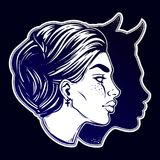 A beautiful woman with imp shadow head portrait. Devil in disguise. Minimalistic lady is ideal Halloween, tattoo, wierd, psychedelic art for print, posters, t Royalty Free Stock Photo