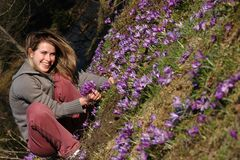 Free Beautiful Woman In A Crocus Field Stock Photography - 661672