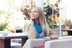 Free Beautiful Woman In A Summer Cafe Royalty Free Stock Image - 52741906