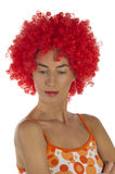 Beautiful Woman In An Orange Wig Stock Images