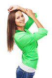 Beautiful Woman In Green Jacket Stock Image
