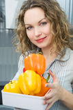Beautiful Woman In Kitchen Stock Image
