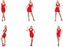 Free Beautiful Woman In Red Dress Isolated On White Royalty Free Stock Image - 158524146