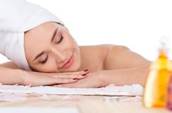 Beautiful Woman In Spa Salon Royalty Free Stock Photography