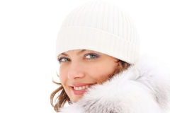 Beautiful Woman In The Fur Coat Royalty Free Stock Images