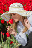 Beautiful Woman In The Tulip Field Royalty Free Stock Image