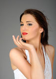 Beautiful Woman In White Dress And Retro Makeup