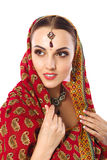Beautiful Woman in Indian Traditional Clothes And Accessories Stock Photo